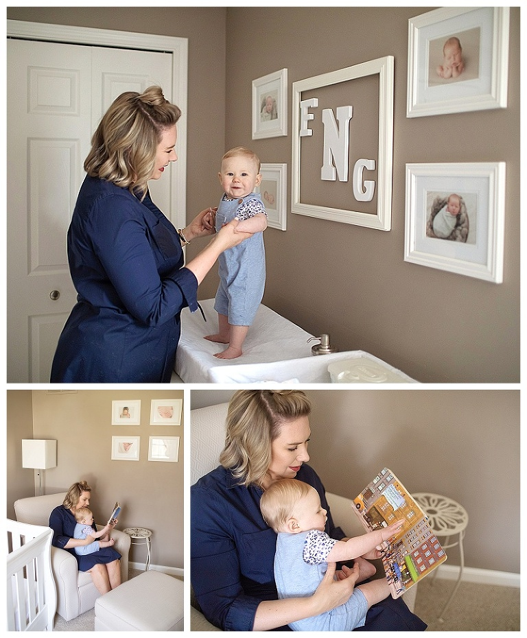 Mom with baby in nursery during a lifestyle session in their home.