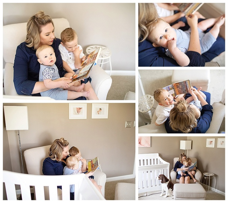 Mom reading to her two boys in their big comfy chair.  Lifestyle photography session in home.