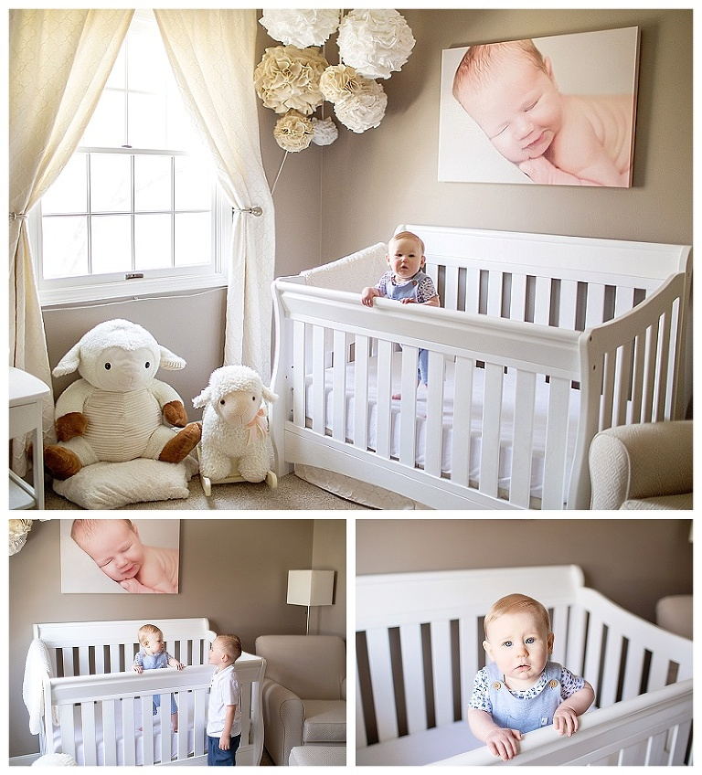 Baby boy in his crib during a lifestyle photography session.