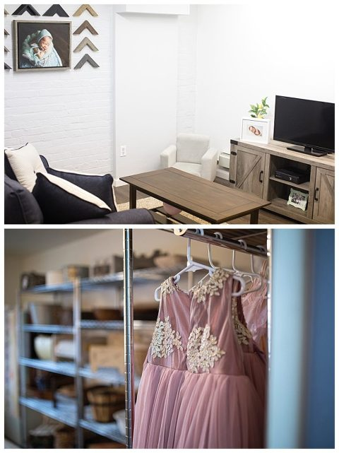 The meeting room for photography consultations or lounge area for parents and siblings.  The prop closet with dresses and outfits for what to wear to your photography session in the studio.
